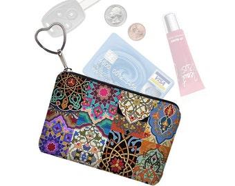 Colorful Boho Small Zipper Pouch Coin Purse Keychain Key Fob Business Card Case Purse Organizer Asian Bohemian Jewel Tones  MTO