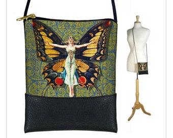 Bohemian Cross body bag, Boho sling bag,  Art Nouveau Flapper Butterfly, Paisley Cell phone purse, Small shoulder bag, black blue green MTO