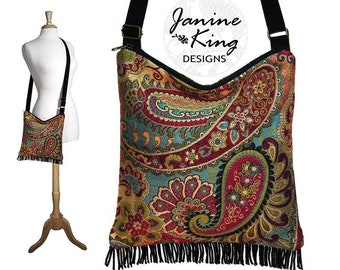 Bohemian Purse Gypsy Fringe Bag Slouch Hobo Hippie Purse Boho Shoulder Bag Zipper - Nadya Paisley Tapestry MTO