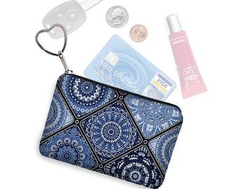 Small Zipper Coin Purse, Credit Card Holder, Key Fob Business Card Holder, Credit Card Case, Keychain Change Purse, blue white porcelain RTS
