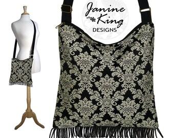 Bohemian Hippie Bag, Boho Fringe Purse,  Damask Cross Body Hobo Bag,  Jaquard Tapestry Handbag, Gray Black Crossbody Purse  MTO