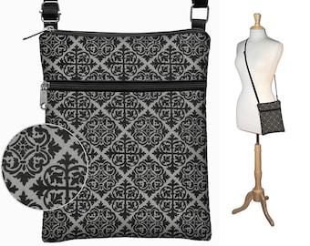 Crossbody Bag, Cross Body Purse Fabric Handbags Small Shoulder Bag, zipper Steampunk Goth Medieval Medallion Black Gray Renaissance MTO