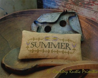 Primitive Summer In Bloom Pillow Tuck Cross Stitch E Pattern PDF New Pattern