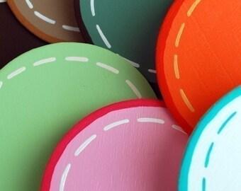 set/2 Custom Polka Dot Quilt Clips - handpainted