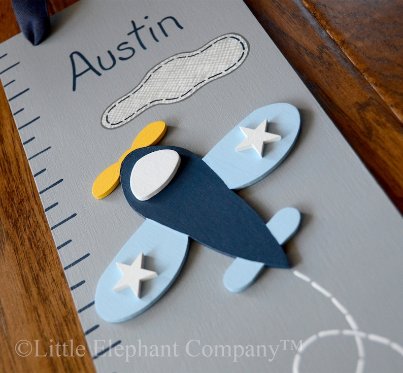 Vintage Airplane Wooden Growth Chart handpainted FREE nail image 0