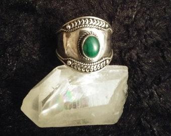 Shield Maiden * MALACHITE*  Sterling Ring Sz. 10