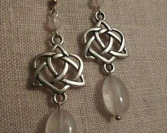 Celtic Love Knot Heart Rose Quartz Earrings