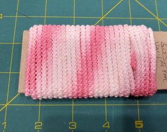 pre made  size 10  romanian point lace cord pink varigate