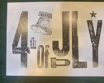 4th of July hand printed ex large post card