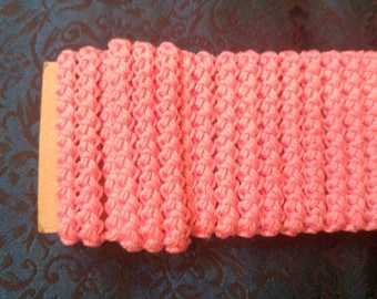 pre made size 3romanian point lace bright pink vintage thread
