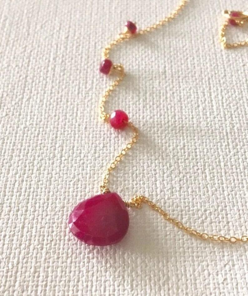 2747bb07df472b Rubinowy naszyjnik naszyjnik złota Ruby złoto łańcuch | Etsy