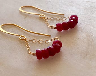 Ruby Earrings, Ruby and Gold Dangling Earrings, Delicate Ruby Earrings