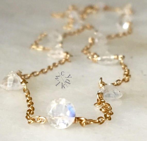 Dainty Rainbow Moonstone Choker Necklace Gemstone Necklace Moonstone Gold Choker Necklace Minimalist Necklace