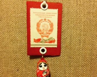 Stamp Necklace - Soviet Stamp