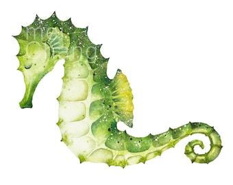 Seahorse art print, 5X7 Seahorse watercolor art print, Seahorse painting, Seahorse artwork, home decor, wall décor, Nature Art