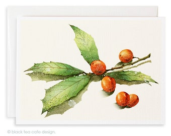 Set of 4 Christmas cards - Xmas Cards, Holiday Cards, Holly watercolor cards