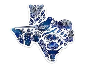 Texas Vinyl Sticker | Blue Texas Vinyl Decal Sticker | Tumbler | Cup | Water Bottle | Tablet | Laptop | Car Decal