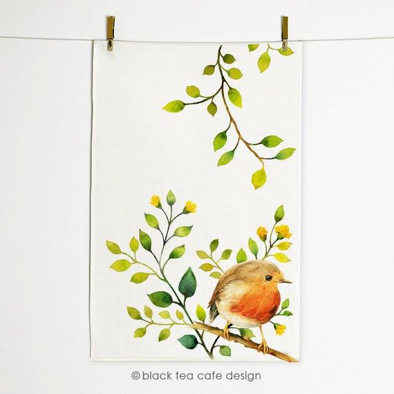 Bird Lovers  Nature Art Garden Linen Cotton Canvas Tea Towel by Spoonflower Little Cute Robin Watercolor by fvo/_design Bird Tea Towel