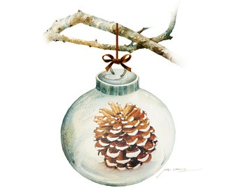 Watercolor Painting - Christmas Ornament with Pine Cone Painting -  5 by 7 print - Archival Print, Minimalist, Home Decor, Nature Art