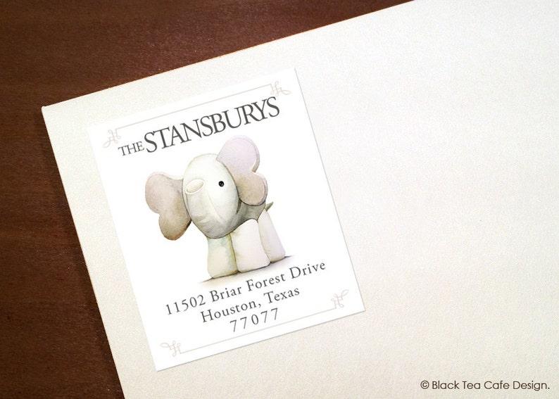 Set of 100 Custom Return Address Labels Sticker. Baby Elephant address label Return address label Self-adhesive address label