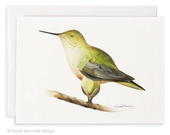 Set of 4 watercolor note cards - Hummingbird cards, Stationery, Birds watercolor cards