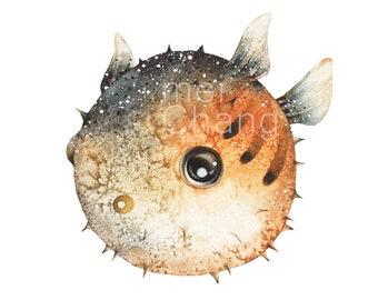 Pufferfish art print, 5X7 Puffer fish watercolor art print, Pufferfish painting, Puffer fish artwork, home decor, wall décor, Nature Art