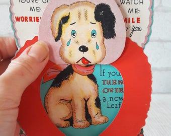 Vintage Unused 1940's Doggone Dog Valentine Greetings Card (B17)