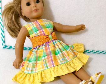 """18"""" Doll Clothes Dress Plaid Yellow Medley with Reversible Waistband fits dolls like American Girl"""