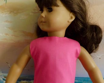 18 Inch Doll Clothes Magenta Hot Pink Handmade Solid Modified Crop Top