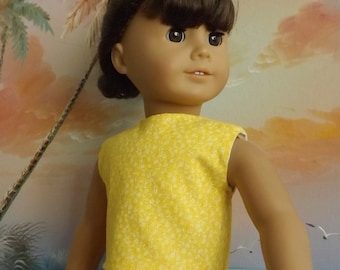 18 inch Doll Clothes Bright Yellow with Subtle Florals Modified Crop Top