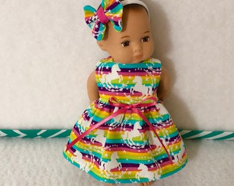 """8"""" Baby Doll Clothes Dress Fits Dolls Like Caring for Baby by American Girl Rainbow Stripe Unicorn"""