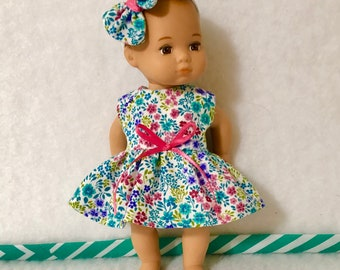"""8"""" Baby Doll Clothes Dress Fits Dolls like Caring For Baby by American Girl Tiny Florals"""