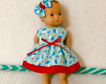 """8"""" Baby Doll Clothes Dress Fits Dolls Like Caring for Baby by American Girl Tiny Sailboats Nautical"""