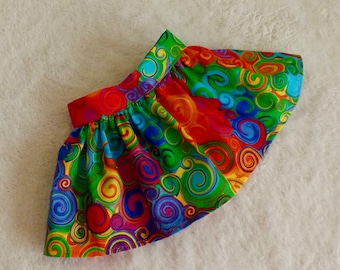 Fits Like American Girl Doll Clothes Skirt Bright Autumn Colors Swirl Handmade Very Fully Gathered 50s Style for 18 inch dolls