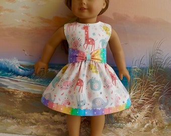 Fits Like American Girl 18 Inch Doll Clothes Dress Pastel Zoo Medley With Reversible Sash
