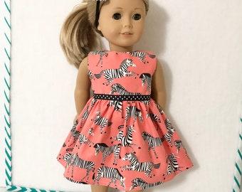 "18"" Doll Clothes Dress Zebras on Orange Fits dolls like American Girl"