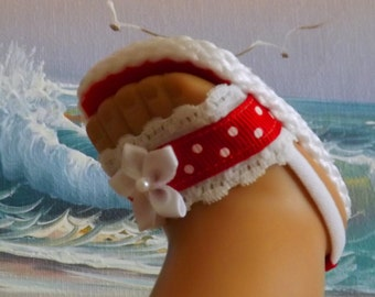 """Doll Clothes Sandals for 18"""" dolls and 16"""" dolls and 13-14"""" dolls and 14.5"""" dolls Handmade (You Choose Size) Red Lace and Ribbon Medley"""