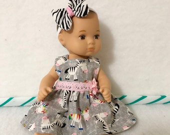 8 Inch Baby Doll Clothes Dress Fits like Caring for Baby by American Girl Zebra Medley