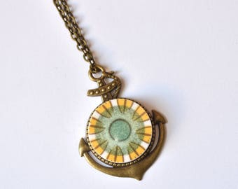 Simple Circle Bronze Anchor Recycled China Pendant - Green and Yellow