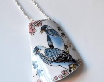 Broken China Jewelry Necklace  - Blue Birds