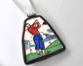 Broken China Jewelry Pendant - Golfer