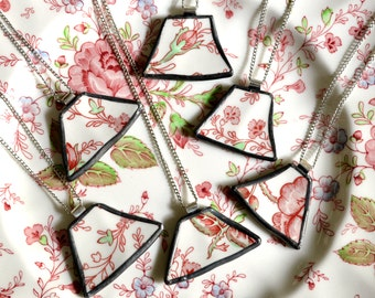 Custom Bridesmaid Jewelry - Matching Broken Plate Pendants on Chains - Recycled China