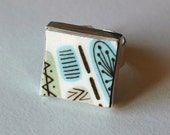 New Square Broken Plate Ring - Blue and White Atomic 50s - Recycled China