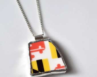 Broken China Jewelry Pendant - Maryland Flag