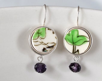 Simple Circle Broken China Earrings - Green with Purple Beads
