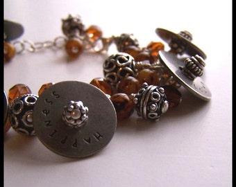 SALE Boutique CUSTOM Ladies Brown Fringe Word Bracelet