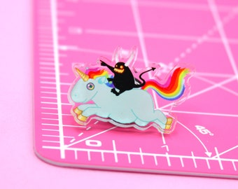 Demon Riding a Unicorn Acrylic Pin