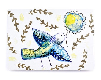 Recycled Bird & Flower Blank Greeting Card