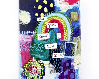 Recycled Rainbow Love Blank Greeting Card