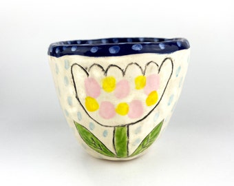 Hand Built Earthenware Ceramic Tea Cup